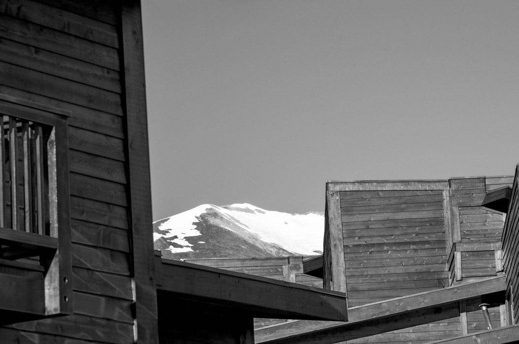 Condos & Mountain (B&W)